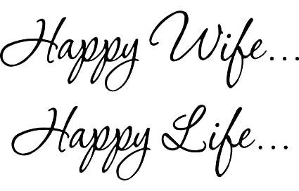 Image of: Tumblr Image Unavailable Amazoncom Amazoncom Happy Wife Happy Life Family Wall Decal Quotes Bedroom