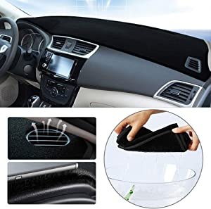 Dashboard Cover for Volkswagen VW Tiguan 2009-2017 Original Car Custom Dash Mat Anti Reflective Heat Resistant Dash Carpet Polyester Black