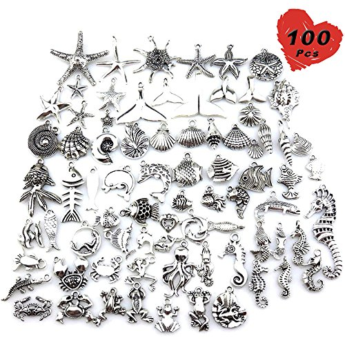 (100 Pcs Wholesale Silver Charms Mixed Smooth Metal Charms Pendants Accessory, DIY for Jewelry Making and Crafting (Marine Life Style))