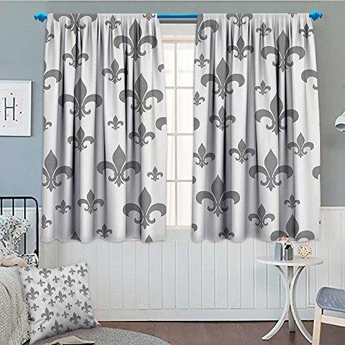 (SeptSonne-Home Fleur De Lis Decor Window Curtain Drape Lily Pattern Classic Retro Royal Vintage European Iris Ornamental Artwork Decorative Curtains for Living Room 52