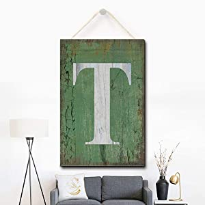 Puernash Wooden Hanging Sign Letter T Wood Sign 8 X 12 Inches