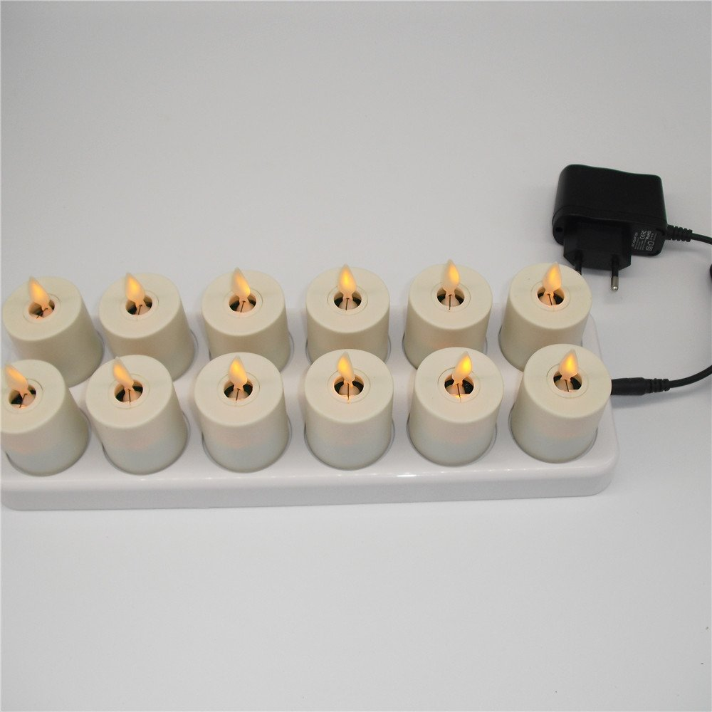 NONNO&ZGF 3D LED Dancing Light Votive Candles with Rechargeable Base and Remote - Set of 12 by NONNO&ZGF (Image #4)