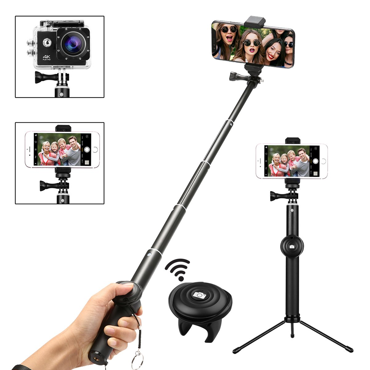 Bluetooth Selfie Stick and Tripod, M.Way 360 ° Rotation Monopod with Detachable Remote Control and Phone Camera Tripod for iPhone X/8/7/6/5 Series, Samsung Galaxy S7 S8 Plus Edge, Gopro, Cameras and More Smartphones Yisreimus_CA