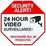 Home Security Sign: 24 Hour Video Surveillance Trespassers Will Be Prosecuted Large 12 X 12 Octagon Reflective UV and Rust Proof Aluminum Sign Also Use As Fake Video Surveillance Sign Comes W/SCREWS
