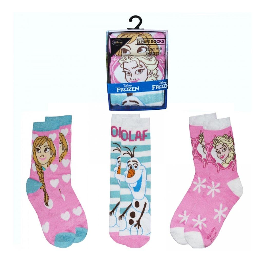 Disney Frozen 3 PK Socks 2 Size 100/% Polyester Clothing