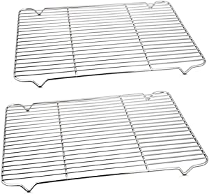 Baking Rack Cooking Rack Set of 2, P&P CHEF Stainless Steel Wire Cooling Drying Roasting Rack, Fits Half Sheet Cookie Pans, Rectangle 16.6''x11.6''x 0.75'', Commercial Quality, Oven & Dishwasher Safe