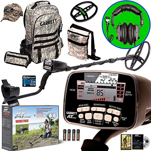 Garrett AT PRO Metal Detector Bonus Pack with Headphones, Backpack, Pouch, Hat...