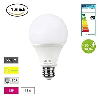 Minger 15W E27 Bombillas LED, equivalente 100W, Calido Blanca (2700K), 1275