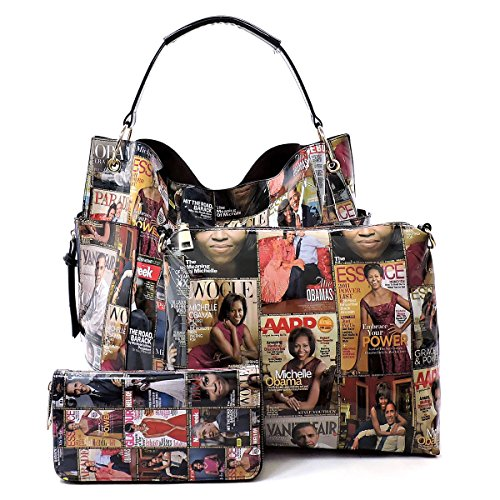 Glossy Magazine Cover Collage Michelle Obama Printed Square Hobo bag + Crossbody purse + Wallet 3pcs Set (Multi)