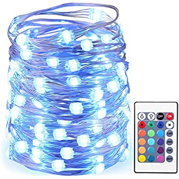 AMIR LED String Lights, 50 LED/16.4ft With Battery Operated Remote Control super brighter Lights, Waterproof IP65, 13 Colors Decorative Lights for Outdoor Parties Christmas (Low voltage, Non plug in)