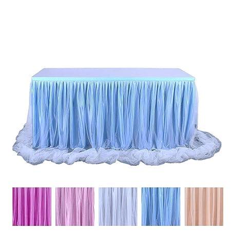 JK Home Tutu Falda de Mesa de Tul de 2 Capas para decoración de ...