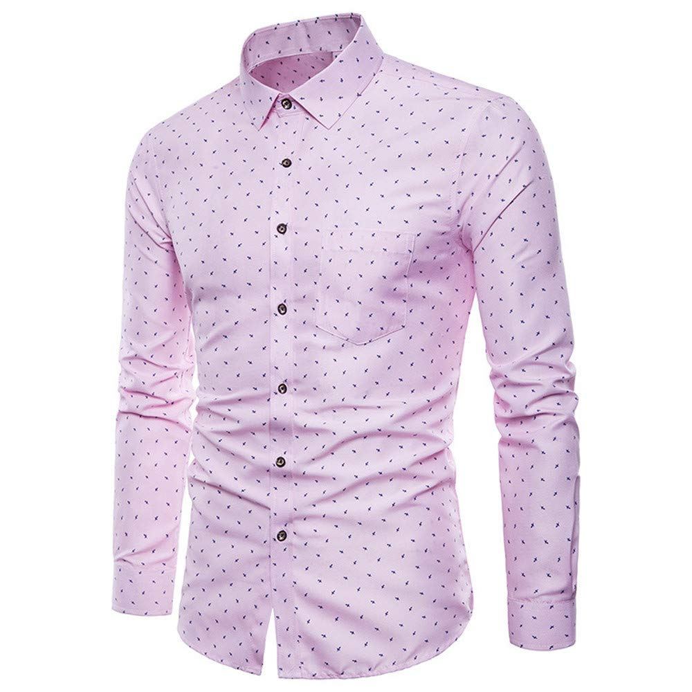 BaZhaHei Mens Long Sleeve Tops Oxford Formal Shirt Casual Suits Slim Fit Tee Dress Shirts Mens Blouse Top Single Breasted Tshirts Turn-Down Collar Work Tops Mens Business Shirt