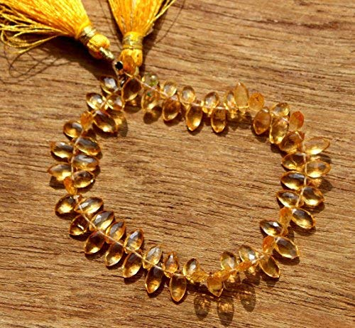 Natural Citrine Faceted Marquise Briolette Beads by Gemswholesale