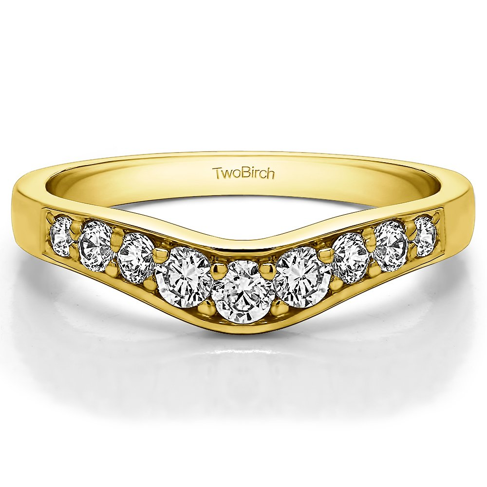CZ Graduated Contour Wedding Ring in Yellow Sterling Silver Size 3 to 15 in 1//4 Size Interval 0.35Ct