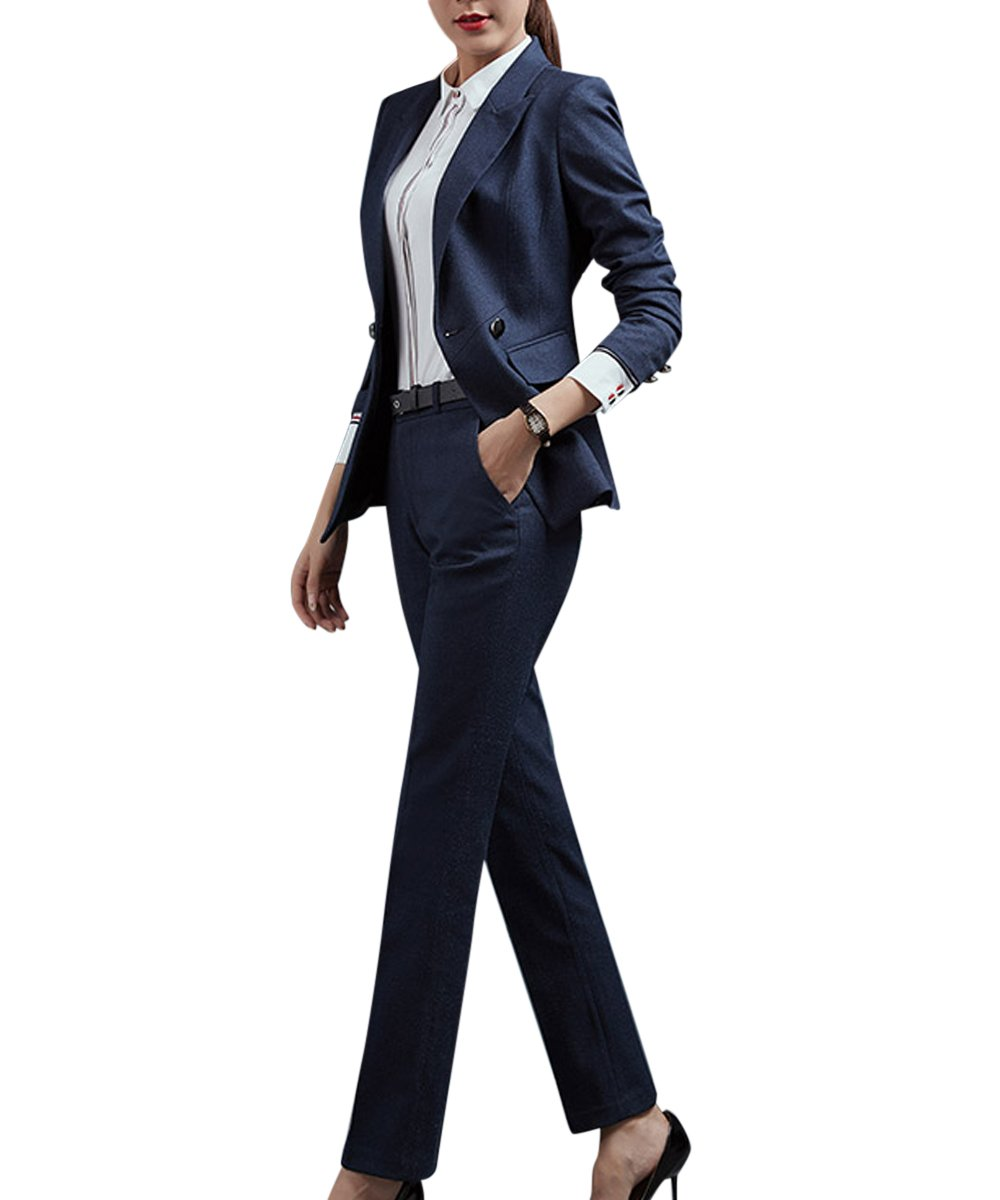 Women's Elegant Business Two Piece Office Lady Suit Set Work Wear Blazer Pant by YUNCLOS