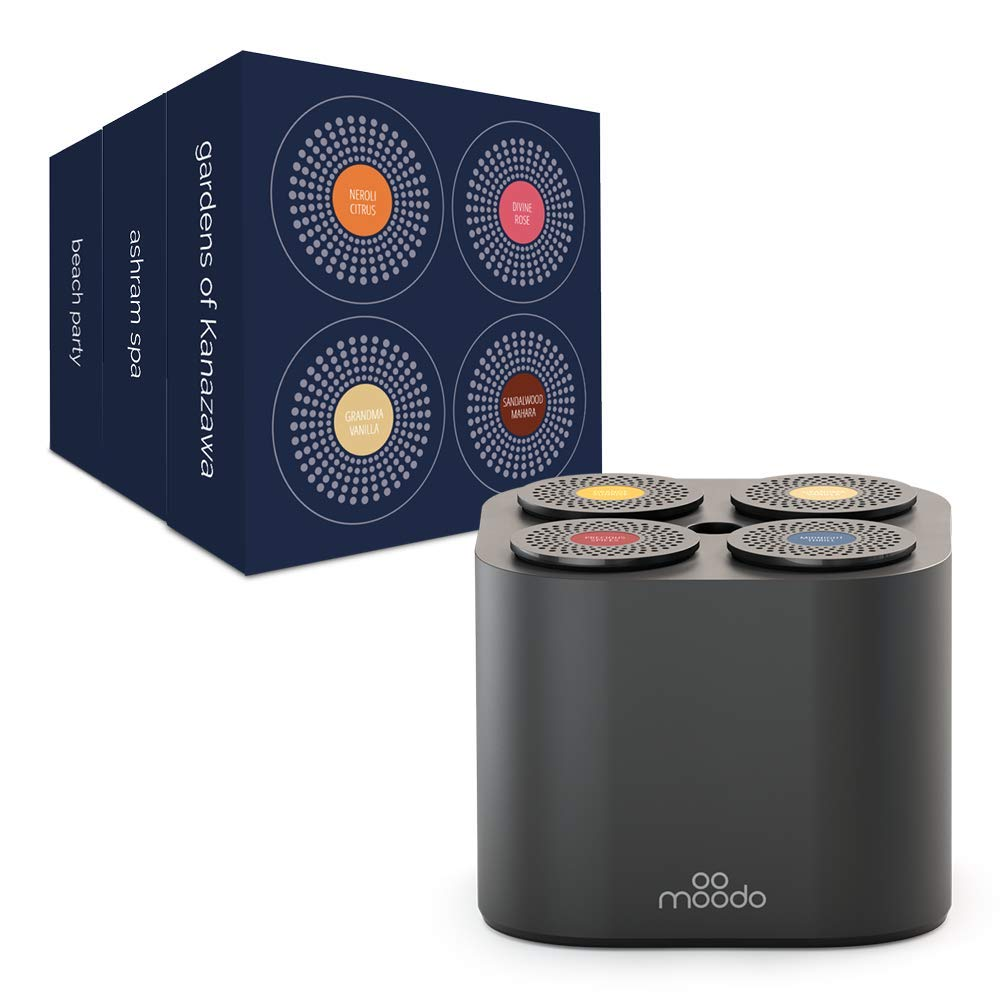Moodo Smart Home Fragrance Diffuser with Rechargeable Battery Bundle with 3 Scent Capsules Sets (Value Pack) - scent personalization, 12 Pod Refills (Black Moodo with Battery Value Pack 2)