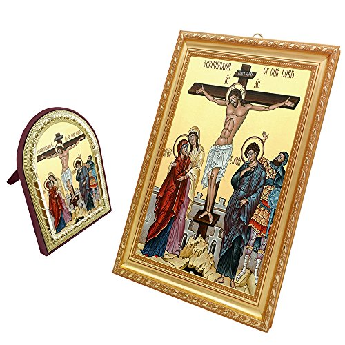 FengMicon Orthodox Icon Crucifixion of our Lord Religious Gift Set of 2