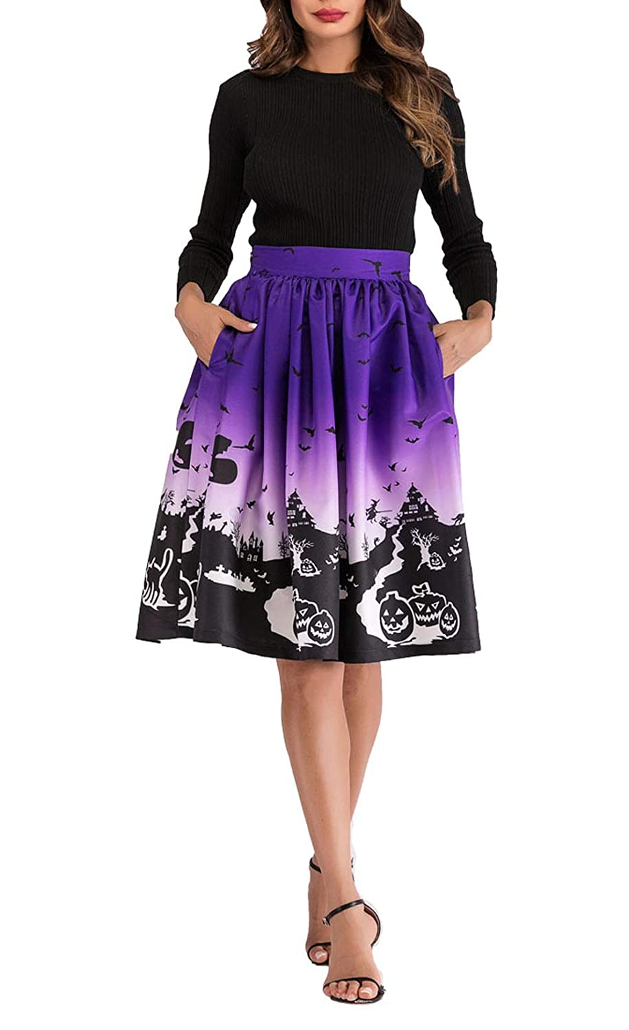 90e29bdd90 Hanlolo Women's Midi Skirts High Waisted 3D Print A-Line Cocktail Party  Prom Skirt with Pocket at Amazon Women's Clothing store: