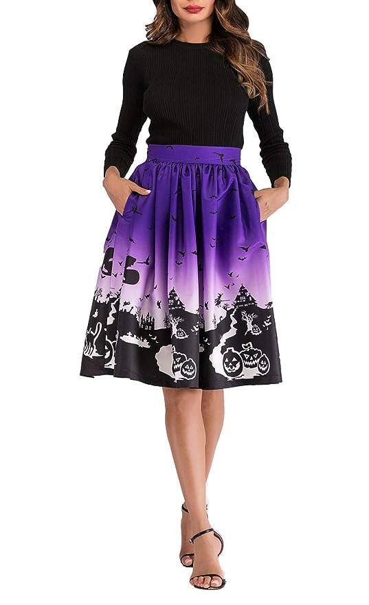 Hanlolo Women Halloween Costumes Midi Skirts Knee Length A Line Dress with Pocket
