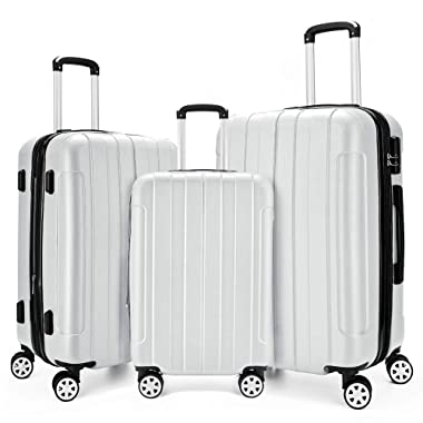 Fochier 3 Piece Expandable Spinner Luggage Set Hard Shell Lightweight Suitcase White