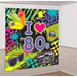 Amscan Awesome 80's Party Wall Scene Setter Decorating Kit (4 Piece), Multi Color, 14.5 x 10''