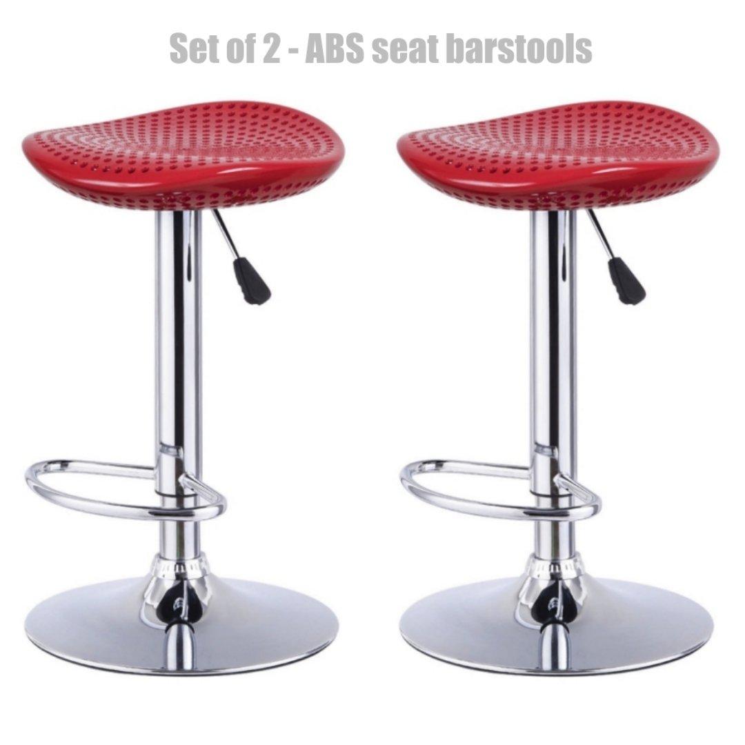 Modern Style High-Gloss ABS Seat Bar stool Adjustable Height 360 Degree Swivel Seat Stable Footrest Durable Premium Chrome Frame Office Pub Chair New Red - Set of 2 #1231r by Koonlert@shop