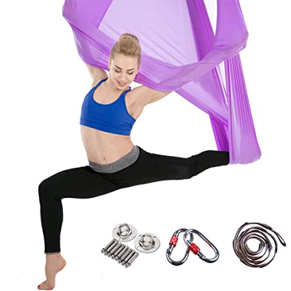 Amazon.com: 5X2.8m Aerial Yoga Hammock Anti-Gravity Pilates ...
