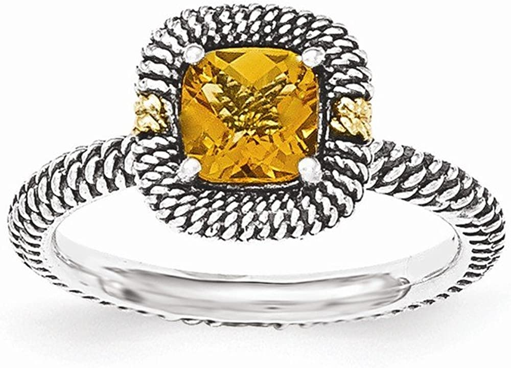 Sterling Silver with 14ky Citrine Cushion Ring