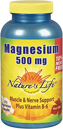 Natures Life Magnesium 500mg   High Potency Magnesium Supplement Plus Vitamin B-6 for Muscle & Nerve Support   Non-GMO   275 Vegetarian Capsules
