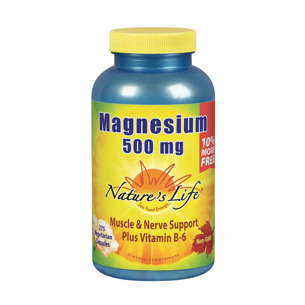 Nature's Life Magnesium 500mg | High Potency Magnesium Supplement Plus Vitamin B-6 for Muscle & Nerve Support | Non-GMO | 275 Vegetarian Capsules
