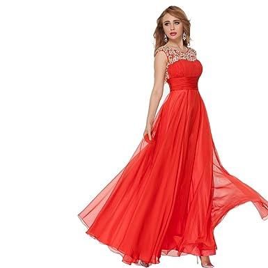 Beaded Red Evening Dress
