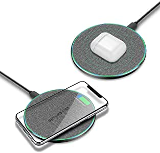 Fast Wireless Charger, DOSHIN Qi-Certified Wireless Charging Pad, Compatible with iPhone Xs Max/XR/XS/X/8/8 Plus, 10W Fast-Charging Pad for Samsung S9/S9+/S8/S8+/Note 9 and All Qi-Enabled Devices.