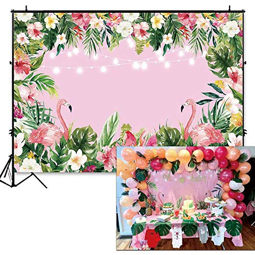 (Funnytree 7x5ft Pink Flamingo Birthday Backdrop Summer Tropical Hawaiian Floral Photography Background for Flamingle Boy Girl Party Plam Flower Baby Shower Decorations Photo Booth Cake Table Banner)