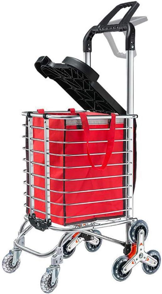 Carro De Compras Plegable Con Tapa Aleación De Aluminio Engrosada Con Subir Escaleras Y Función Push-Pull Adecuado Para Comprar En El Supermercado,Two handles 8 rounds red