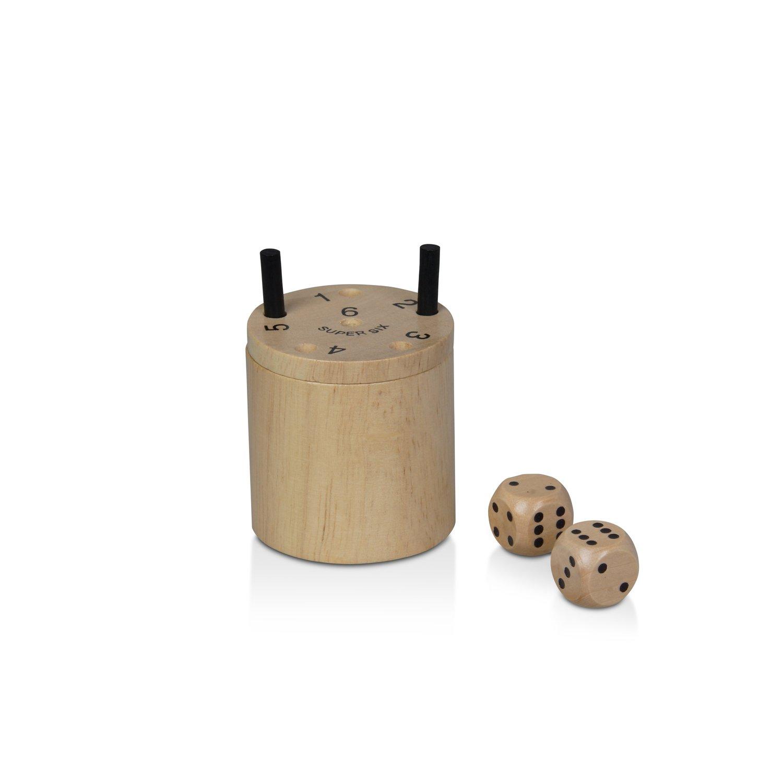 BestSaller 3030 SUPER SIX Holz – auch für die Reise, 36 Spielstäbchen & 2 Würfel, natur (1 Stück) natur (1 Stück)