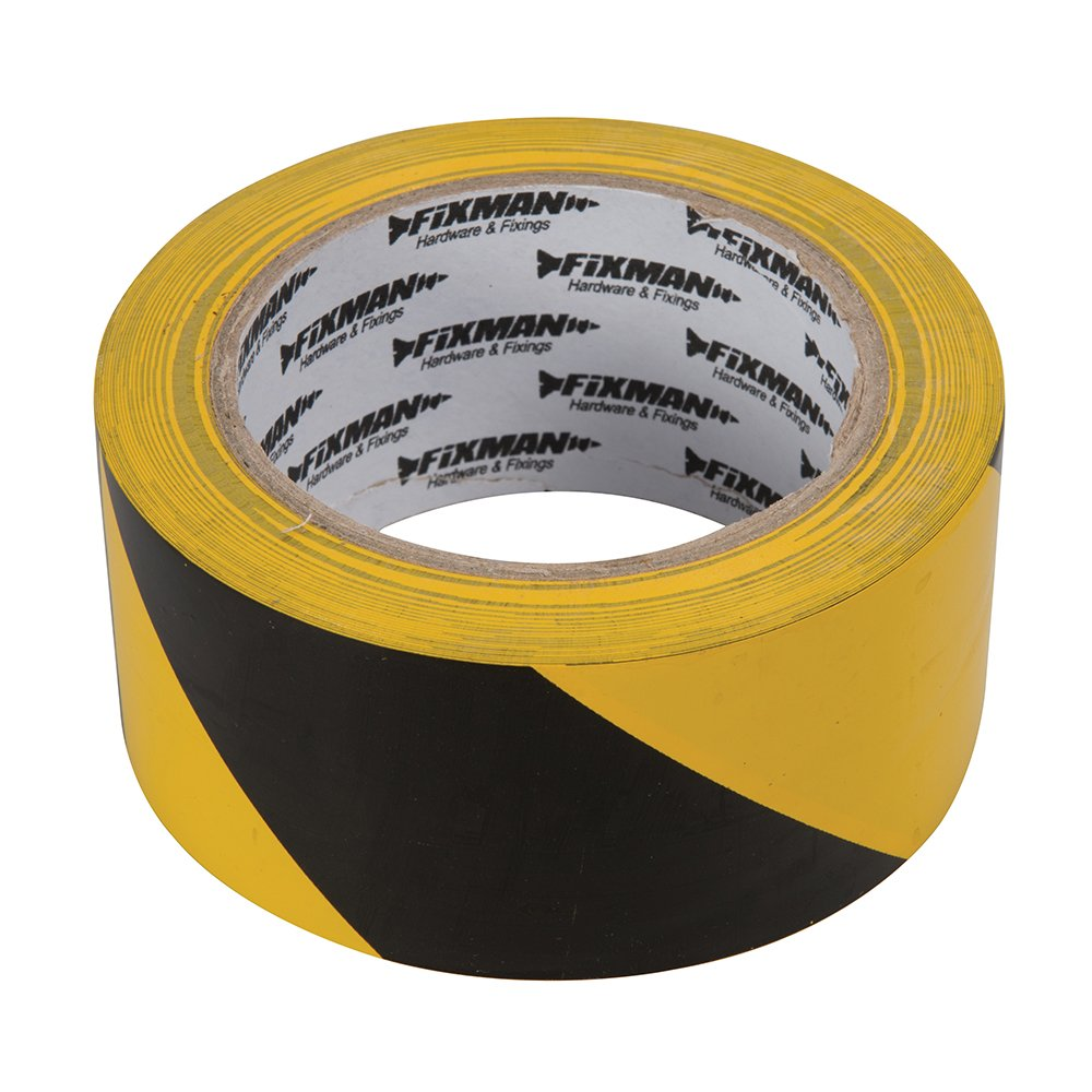 Fixman 190195 Black /& Yellow Adhesive Hazard Tape 50mm x 33m