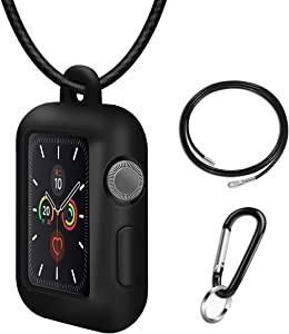 with Genuine Leather Necklace Pendant Strap Replacement Silicone Protector Cases Cover Compatible for Apple Watch Series5 4 3 2 1 38mm 42mm Neck Band Accessories (Black, 44mm)