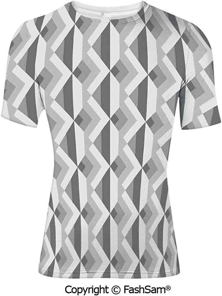 Fashion Printed T-Shirts Triangles with Marble Design Soft Color Palette Mosaic
