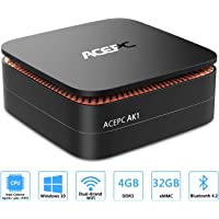 "ACEPC AK1,Mini PC Intel Celeron Processor J3455 Windows 10 Home (64 bit) Desktop Computer [4GB/32GB/Support 2.5"" SSD/mSATA SSD/Gigabit Ethernet/Dua-Band WiFi/4K Dual HDMI]"