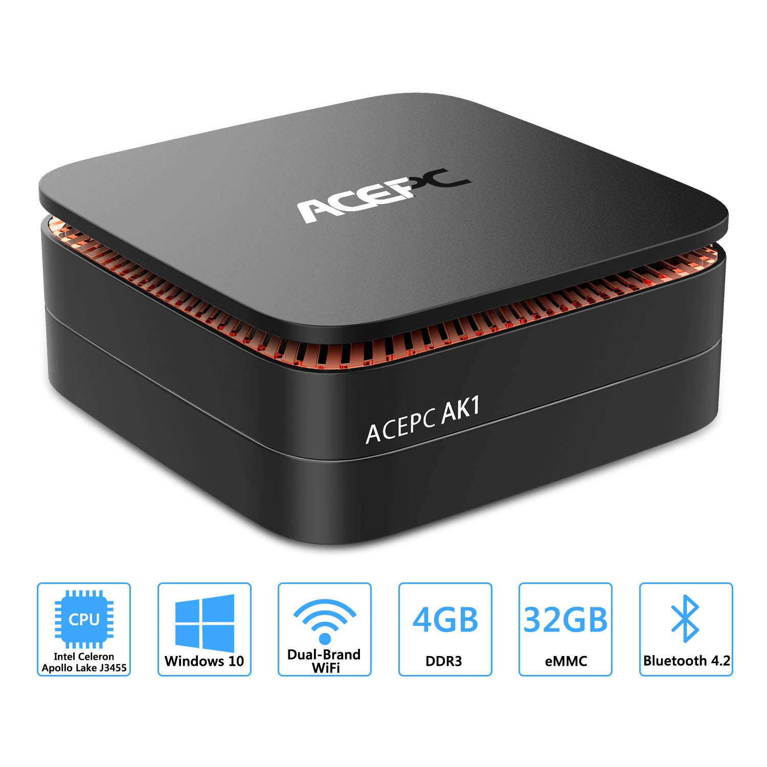 ACEPC AK1 Mini PC Windows 10 (64-bit) Intel Celeron Apollo Lake J3455 Processeur(jusqu'à 2, 3 GHz) RAM 4 Go ROM 32 Go/Intel HD Graphics 500/1000Mbps LAN/Double bande Wifi/Bluetooth 4K Dual HDMI