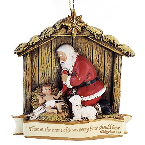 Woodington's Kneeling Santa Claus Bible Verse Ornament