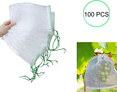 10x Garden Insect Net Mesh Plant Fruit Protect Drawstring Net Bag Against Insect