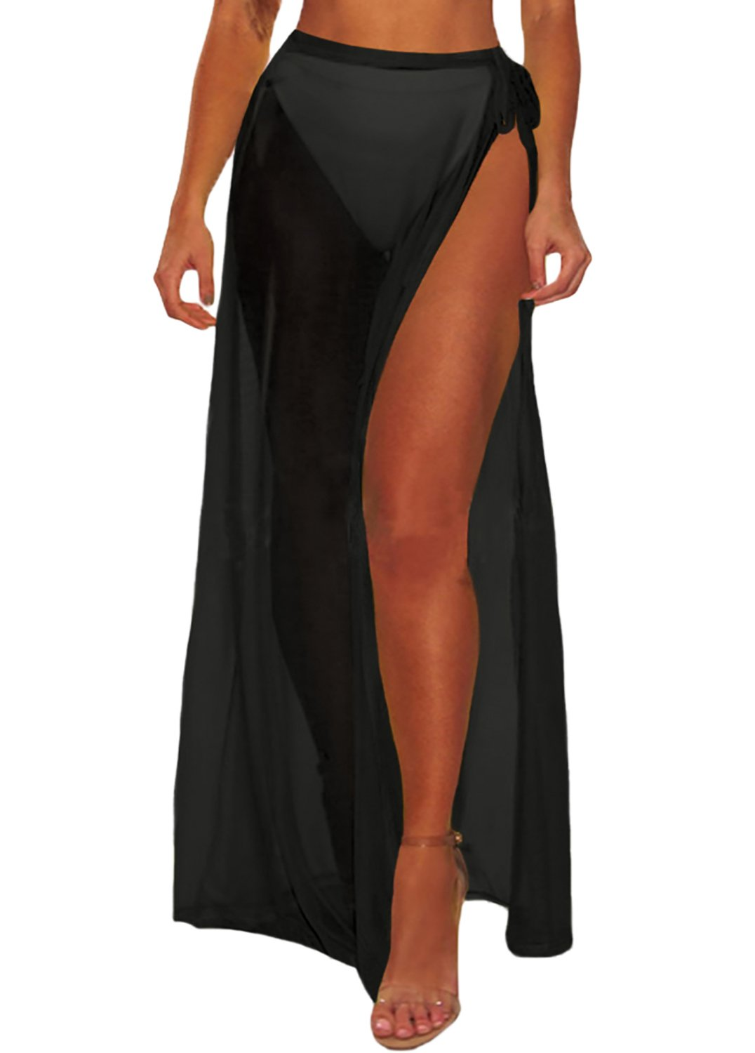 Bulawoo Women's Sexy Sheer Skirt Solid Cover up Swimsuit Beach Sarongs Wrap Maxi Skirt Swimwear Bathing Suits One Size Black
