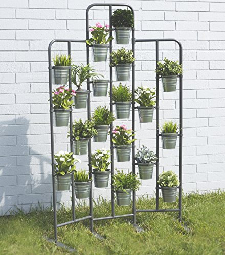Tall Metal Plant Planter Stand 20 Tiers Display Plants Indoor or Outdoors on a Balcony Patio Garden or Use as a Room Divider or Vertical Garden Inside Your Home Urban Gardening (Dark Gray) (Urban Patio Garden)