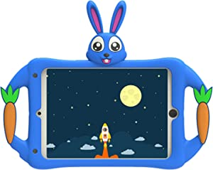 iPad 2/3/4 (Old Model) Case for Kids,Geageaus Shockproof Silicone Handle Stand Case Cover&(Comes with Shoulder Strap) for Apple iPad 2nd,3rd,4th Generation(Rabbit Series,Blue)