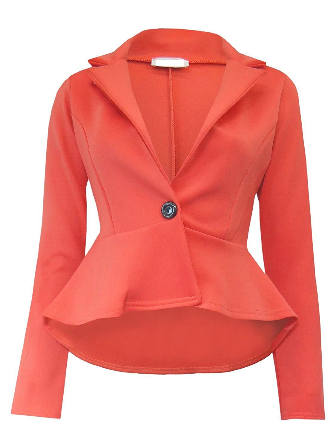 janisramone New Womens Crop Frill Shift Slim Fit Peplum Blazer Jacket Coat Ladies