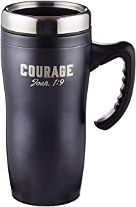 Stainless Steel Travel Coffee Mug with Lid and Handle (16 Oz Double-Wall Vacuum Insulated Cup) (Black Stainless Steel - Courage (#1))