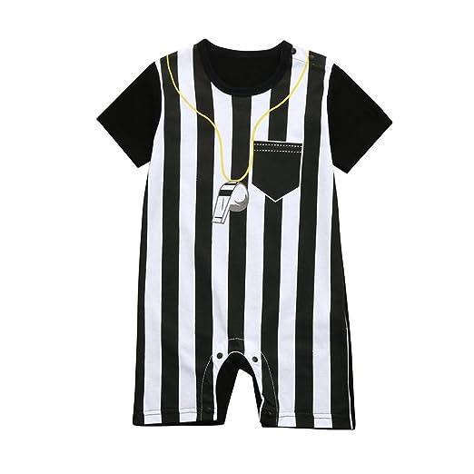 SCSAlgin World Cup Baby Boys Striped Football Soccer Referee Romper  Jumpsuits (Black 03269b1d2
