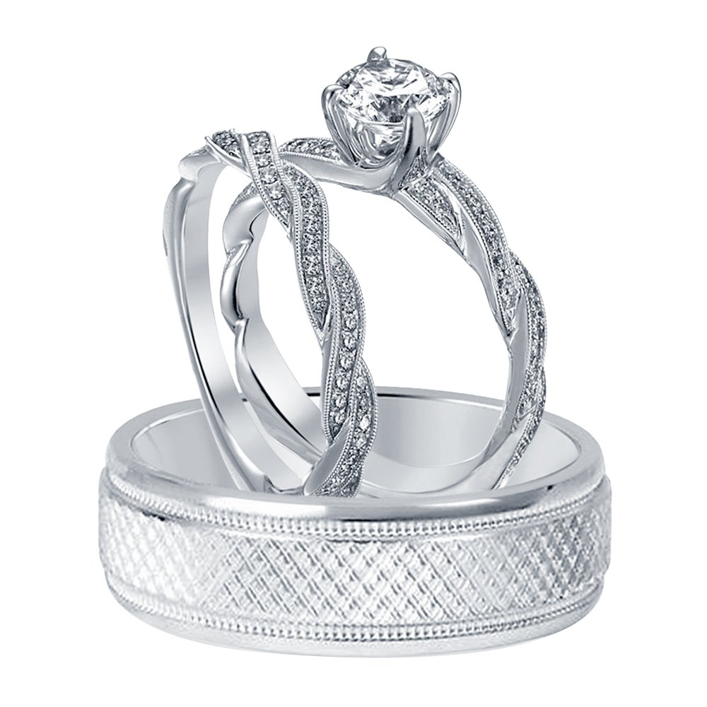 Silvernshine Jewels 1/4 Ct T.W. Diamond Infinity Style His & Hers Trio Ring Set 10K White Gold Over