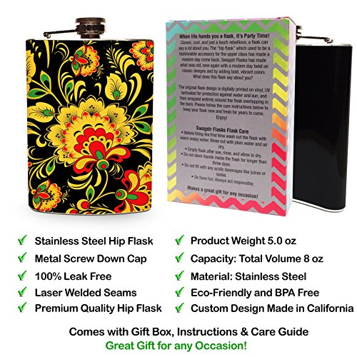 Floral-Flask-8oz-Stainless-Steel-Hip-Flasks-Spirits-Whiskey-Liquor-Vodka-Wedding-Flasks-Flowers-Vintage-Retro-Modern-Gift-Box